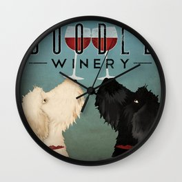 Doodle Goldendoodle Labradoodle Schoodle Whoodle Winery Wall Clock