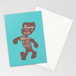 Always Let your Conscience Be Your Guide - Pinocchio inspired Print  Stationery Cards