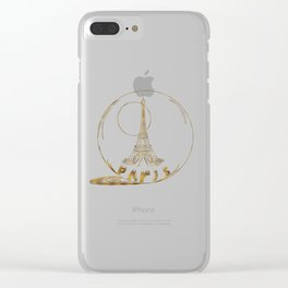 Golden Paris . Eiffel tower . illustration Clear iPhone Case