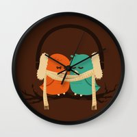 vector Wall Clocks featuring Baby It's Cold Outside by Picomodi