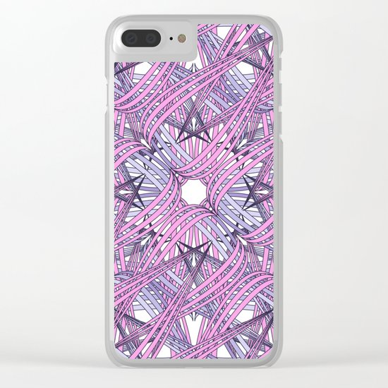 Web in pink and grey Clear iPhone Case