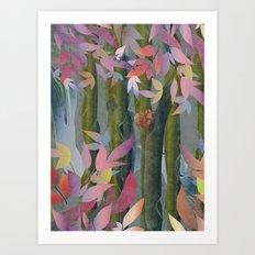 Autumn by a Waterfall Art Print