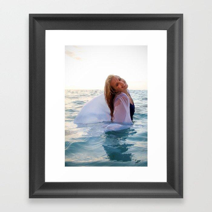 Rachel in white and blue Framed Art Print