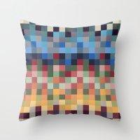 pixel Throw Pillows featuring Pixel by crrr