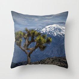 Joshua Tree at Keys View in Joshua Park National Park viewing the Little San Bernardino Mountains Throw Pillow