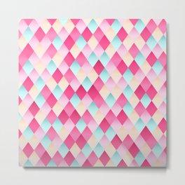 Pink And Blue Diamond Abstract Metal Print