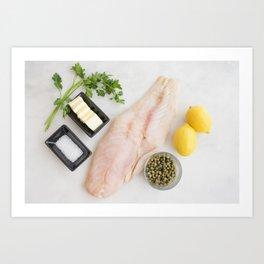 Grouper with Lemon-Caper Butter Ingredients Art Print