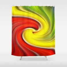 Twirl Red Green Gold Shower Curtain