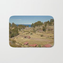 Houses of Local Peruvian People Living on Taquile Island, Peru Bath Mat
