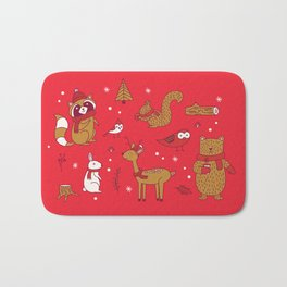 Winter Woodlands - Red Bath Mat