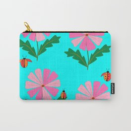Spring Flowers and Lady Bugs with Blue Carry-All Pouch