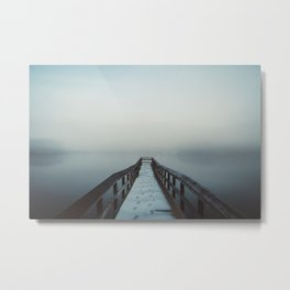Dock over Foggy Falls Lake (Raleigh, NC) Metal Print