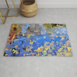 Gold dust on a mountain pond Rug