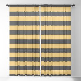 Yellow and Black Bumblebee Stripes Sheer Curtain