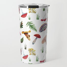 Mushrooms, leaves, grass, mountain ash. Drawn with colored pencils. Travel Mug