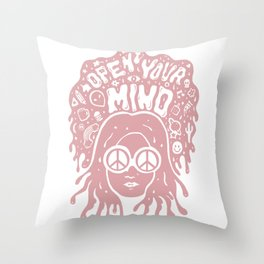 Open Your Mind in pink Throw Pillow