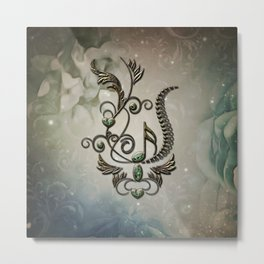 Music, key note with floral elements Metal Print
