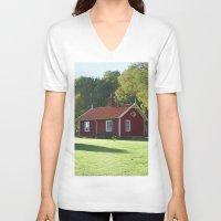 swedish V-neck T-shirts featuring Swedish Cottage  by Sarah Osterman