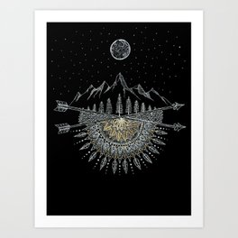 Moon and Stars Night Sky Mountain Range Arrow Mandala Art Print