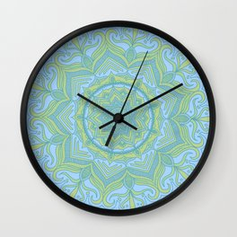 Blue and Green Flower Mandala Wall Clock