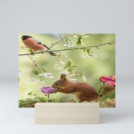 squirrel and bullfinch Mini Art Print