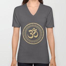 Om Ohm Aum Symbol product Spiritual Yoga Tee Gift design Unisex V-Neck