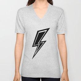 Lightning - Black and White Unisex V-Neck