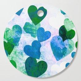 Fab Green & Blue Grungy Hearts Design Cutting Board