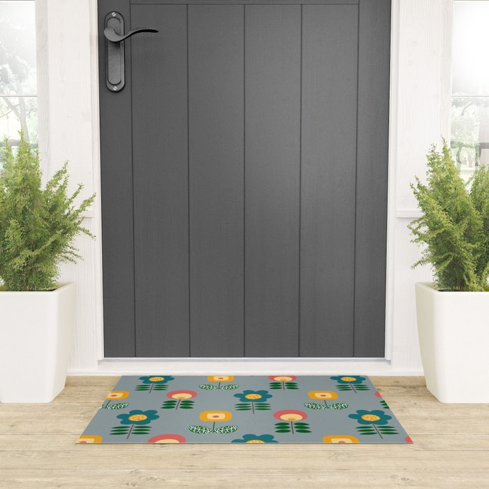 Mid Century Flowers (grey) Welcome Mat
