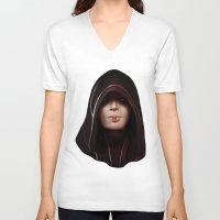 mass effect V-neck T-shirts featuring Mass Effect: Kasumi Goto by Ruthie Hammerschlag