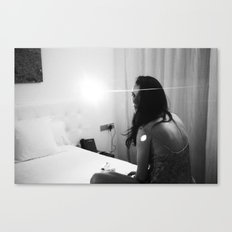 night-time hotel room portrait Canvas Print