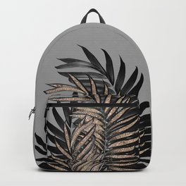 Gray Black Palm Leaves with Gold Glitter #1 #tropical #decor #art #society6 Backpack