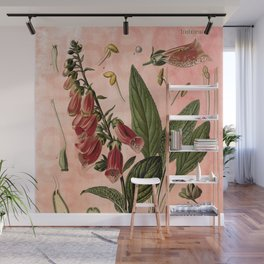 Vintage Botanical Illustration Collage, Foxgloves, Digitalis Purpurea Wall Mural