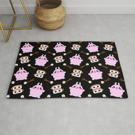 Cute funny Kawaii chibi little pink baby bunnies, happy sweet cheerful sushi with shrimp on top, rice balls and chopsticks black pattern design. Rug
