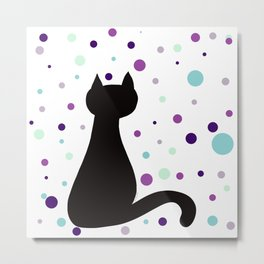 Black Cat Party! Metal Print
