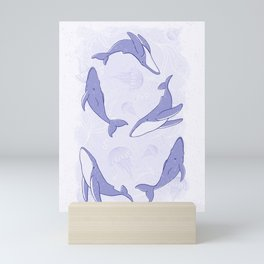 Hand-Drawn Humpback Whale Song in Indigo Mini Art Print