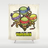 ninja turtles Shower Curtains featuring Kawaii Mutant Ninja Turtles by Squid&Pig