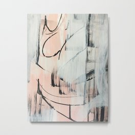 Sweet Tart: a minimal abstract mixed-media piece in pink black and white by Alyssa Hamilton Art Metal Print