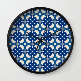 Classic Blue Moroccan Blue White Pattern Wall Clock