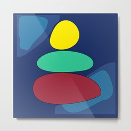 Abstract digital Zen balance art. Stack of stones on a blue background Metal Print