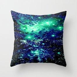 Fox Fur Nebula Galaxy Teal Midnight Blue Throw Pillow