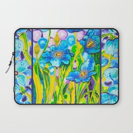 Blue Poppies 2 with Border Laptop Sleeve