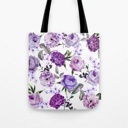 Elegant Girly Violet Lilac Purple Flowers Tote Bag