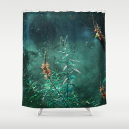 Fairy Flowers in the Jade Moonlight Shower Curtain