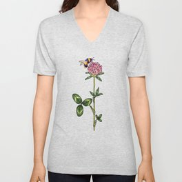 Red clover pattern Unisex V-Neck