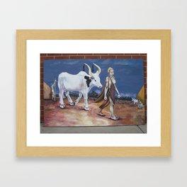 Bull as a gift Framed Art Print
