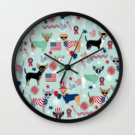Chihuahua fourth of july patriotic america summer dog gifts home decor chihuahuas Wall Clock