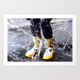 Gumboots on a Rainy Day Art Print
