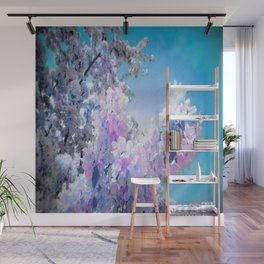 Flowers Lavender Pink Periwinkle Turquoise Wall Mural