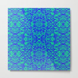 Abstract Fractal In Blue And Green Metal Print